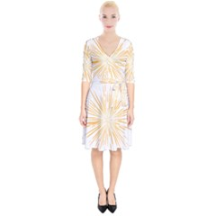 Fireworks Light Yellow Space Happy New Year Wrap Up Cocktail Dress