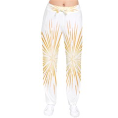 Fireworks Light Yellow Space Happy New Year Drawstring Pants by AnjaniArt