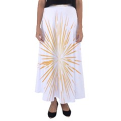 Fireworks Light Yellow Space Happy New Year Flared Maxi Skirt
