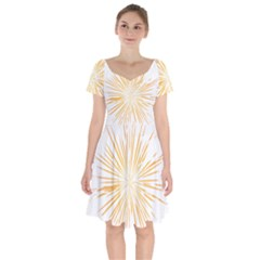 Fireworks Light Yellow Space Happy New Year Short Sleeve Bardot Dress