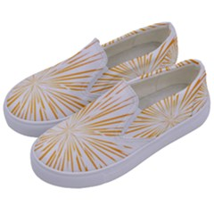 Fireworks Light Yellow Space Happy New Year Kids  Canvas Slip Ons by AnjaniArt