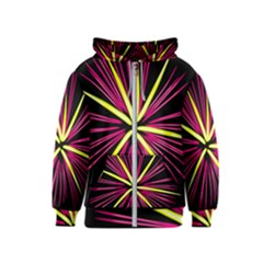 Fireworks Pink Red Yellow Black Sky Happy New Year Kids  Zipper Hoodie