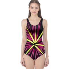 Fireworks Pink Red Yellow Black Sky Happy New Year One Piece Swimsuit