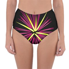 Fireworks Pink Red Yellow Black Sky Happy New Year Reversible High Waist Bikini Bottoms by AnjaniArt