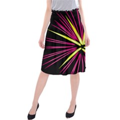 Fireworks Pink Red Yellow Black Sky Happy New Year Midi Beach Skirt by AnjaniArt