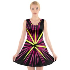Fireworks Pink Red Yellow Black Sky Happy New Year V Neck Sleeveless Skater Dress