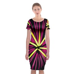 Fireworks Pink Red Yellow Black Sky Happy New Year Classic Short Sleeve Midi Dress
