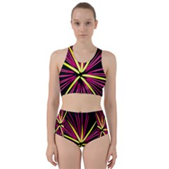 Fireworks Pink Red Yellow Black Sky Happy New Year Racer Back Bikini Set by AnjaniArt