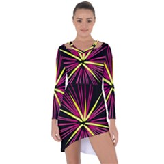 Fireworks Pink Red Yellow Black Sky Happy New Year Asymmetric Cut Out Shift Dress