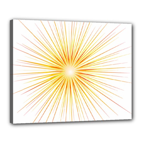 Fireworks Light Yellow Space Happy New Year Red Canvas 20  X 16
