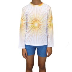 Fireworks Light Yellow Space Happy New Year Red Kids  Long Sleeve Swimwear by AnjaniArt