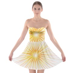 Fireworks Light Yellow Space Happy New Year Red Strapless Bra Top Dress by AnjaniArt