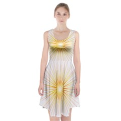 Fireworks Light Yellow Space Happy New Year Red Racerback Midi Dress by AnjaniArt