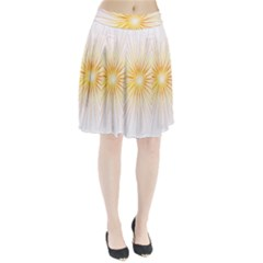 Fireworks Light Yellow Space Happy New Year Red Pleated Skirt