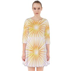 Fireworks Light Yellow Space Happy New Year Red Smock Dress