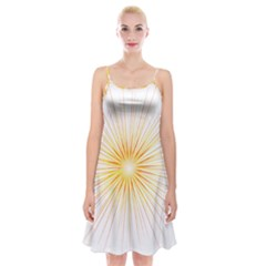 Fireworks Light Yellow Space Happy New Year Red Spaghetti Strap Velvet Dress