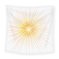 Fireworks Light Yellow Space Happy New Year Red Square Tapestry (large)