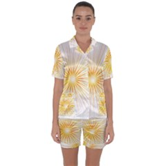 Fireworks Light Yellow Space Happy New Year Red Satin Short Sleeve Pyjamas Set by AnjaniArt