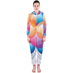 Birthday Happy New Year Balloons Rainbow Hooded Jumpsuit (ladies)  by AnjaniArt