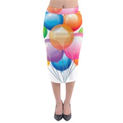 Birthday Happy New Year Balloons Rainbow Midi Pencil Skirt by AnjaniArt