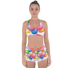 Birthday Happy New Year Balloons Rainbow Racerback Boyleg Bikini Set