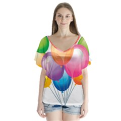 Birthday Happy New Year Balloons Rainbow V Neck Flutter Sleeve Top by AnjaniArt
