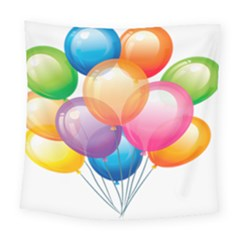 Birthday Happy New Year Balloons Rainbow Square Tapestry (large) by AnjaniArt