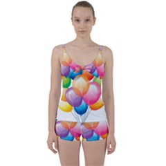 Birthday Happy New Year Balloons Rainbow Tie Front Two Piece Tankini by AnjaniArt