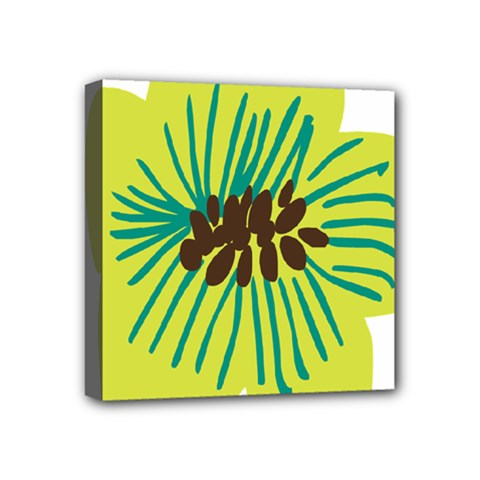 Flower Floral Green Mini Canvas 4  X 4