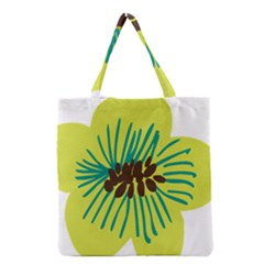 Flower Floral Green Grocery Tote Bag by AnjaniArt