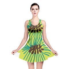 Flower Floral Green Reversible Skater Dress by AnjaniArt