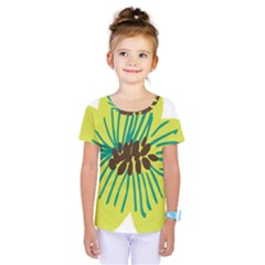 Flower Floral Green Kids  One Piece Tee by AnjaniArt