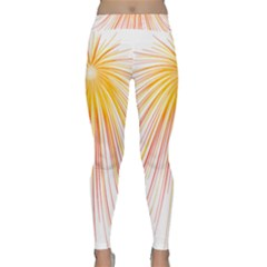 Fireworks Yellow Light Classic Yoga Leggings by AnjaniArt