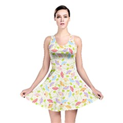 Flower Rainbow Sexy Leaf Plaid Vertical Horizon Reversible Skater Dress