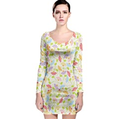 Flower Rainbow Sexy Leaf Plaid Vertical Horizon Long Sleeve Bodycon Dress by AnjaniArt