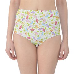 Flower Rainbow Sexy Leaf Plaid Vertical Horizon High Waist Bikini Bottoms