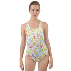 Flower Rainbow Sexy Leaf Plaid Vertical Horizon Cut-out Back One Piece Swimsuit