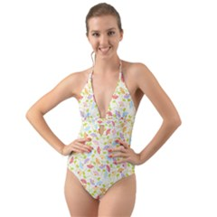 Flower Rainbow Sexy Leaf Plaid Vertical Horizon Halter Cut Out One Piece Swimsuit