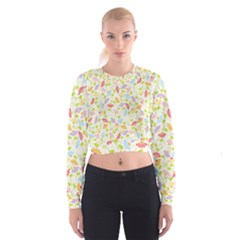 Flower Rainbow Sexy Leaf Plaid Vertical Horizon Cropped Sweatshirt by AnjaniArt