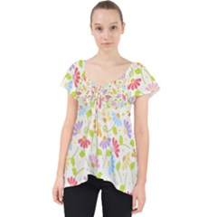 Flower Rainbow Sexy Leaf Plaid Vertical Horizon Lace Front Dolly Top
