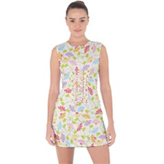 Flower Rainbow Sexy Leaf Plaid Vertical Horizon Lace Up Front Bodycon Dress