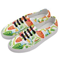 Fruit Flower Leaf Red White Green Starflower Women s Classic Low Top Sneakers by AnjaniArt