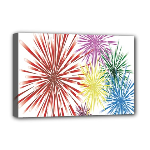 Happy New Year City Semmes Fireworks Rainbow Red Blue Yellow Purple Sky Deluxe Canvas 18  X 12