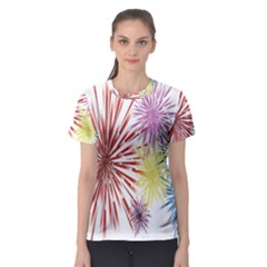 Happy New Year City Semmes Fireworks Rainbow Red Blue Yellow Purple Sky Women s Sport Mesh Tee