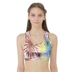 Happy New Year City Semmes Fireworks Rainbow Red Blue Yellow Purple Sky Sports Bra With Border