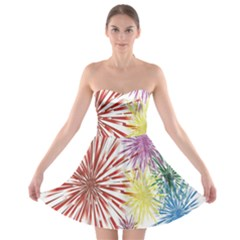 Happy New Year City Semmes Fireworks Rainbow Red Blue Yellow Purple Sky Strapless Bra Top Dress