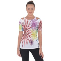Happy New Year City Semmes Fireworks Rainbow Red Blue Yellow Purple Sky Short Sleeve Top