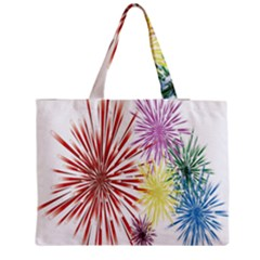 Happy New Year City Semmes Fireworks Rainbow Red Blue Yellow Purple Sky Zipper Medium Tote Bag by AnjaniArt