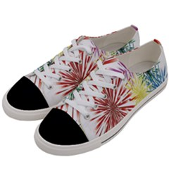 Happy New Year City Semmes Fireworks Rainbow Red Blue Yellow Purple Sky Women s Low Top Canvas Sneakers by AnjaniArt