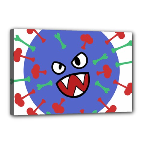 Monster Virus Blue Cart Big Eye Red Green Canvas 18  X 12  by AnjaniArt